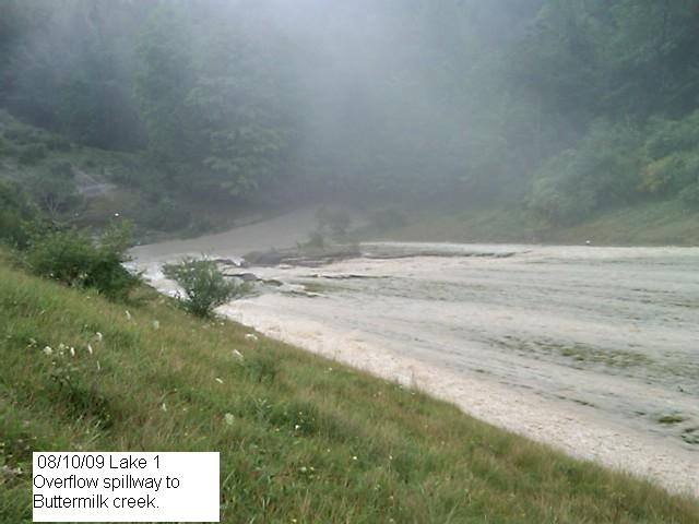 Reservoir #1 overflowing spillway (WVES photo, 7:57AM 8/10/09)