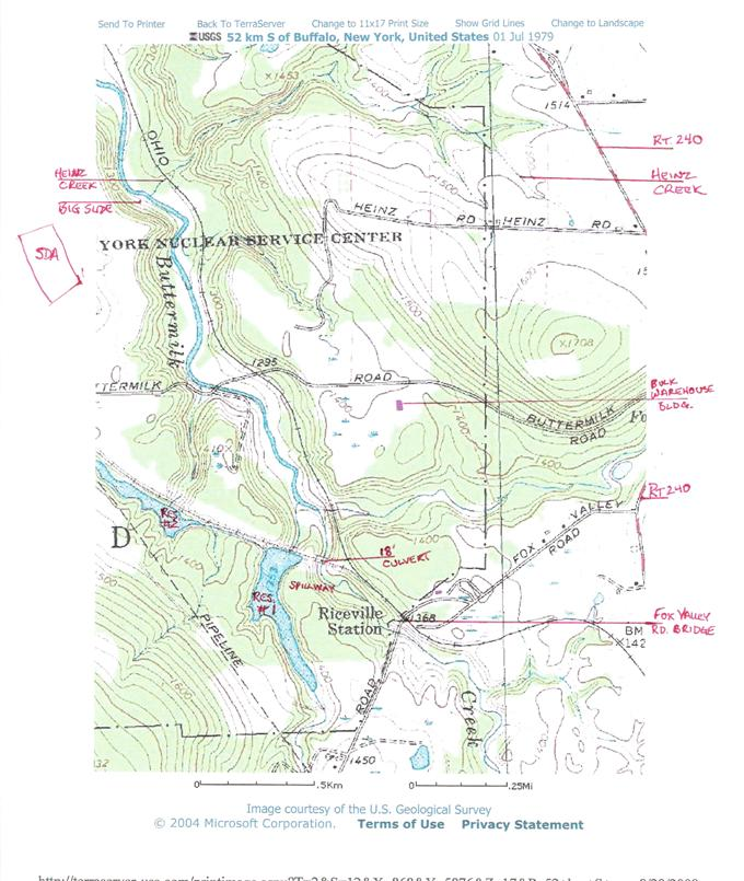 Topographic map of SE portion of West Valley site
