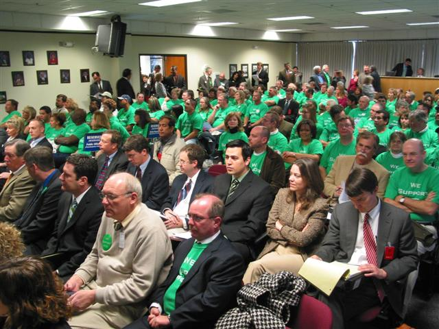 [Green-shirted WCS supporters pack TCEQ WCS LLRW approval meeting]